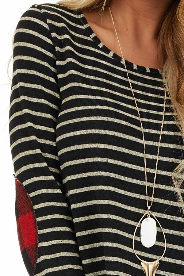 Black and Ash Striped Dress with Checkered Elbow Patches detail