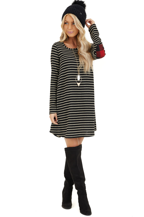 Black and Ash Striped Dress with Checkered Elbow Patches front full body