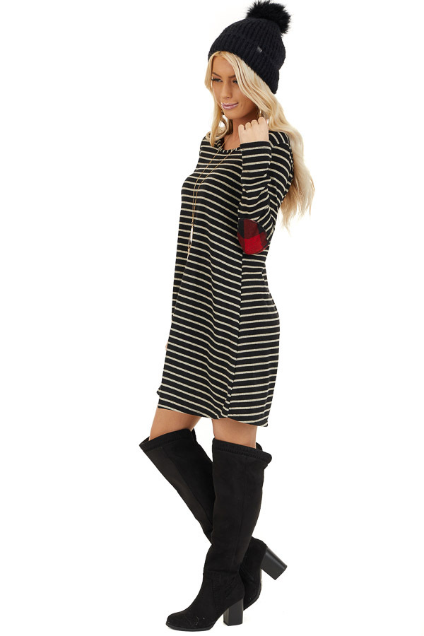 Black and Ash Striped Dress with Checkered Elbow Patches side full body