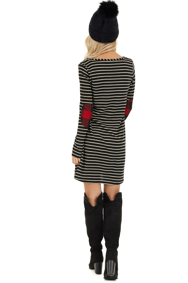 Black and Ash Striped Dress with Checkered Elbow Patches back full body