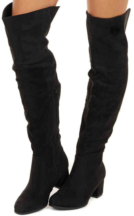 Black Suede Tall Fold Over High Heeled Boots side view