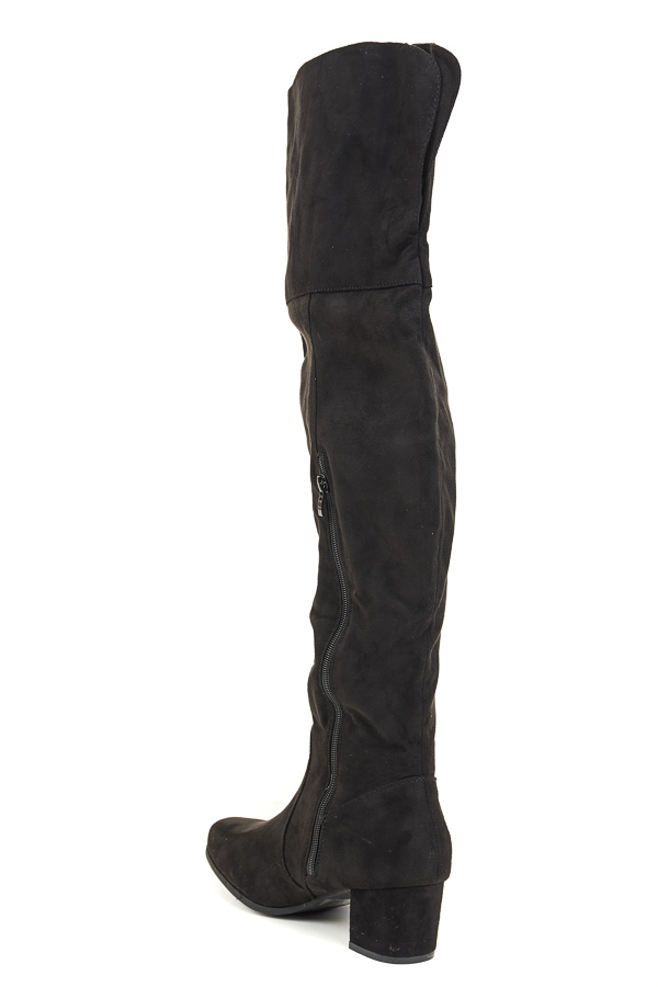 Black Suede Tall Fold Over High Heeled Boots