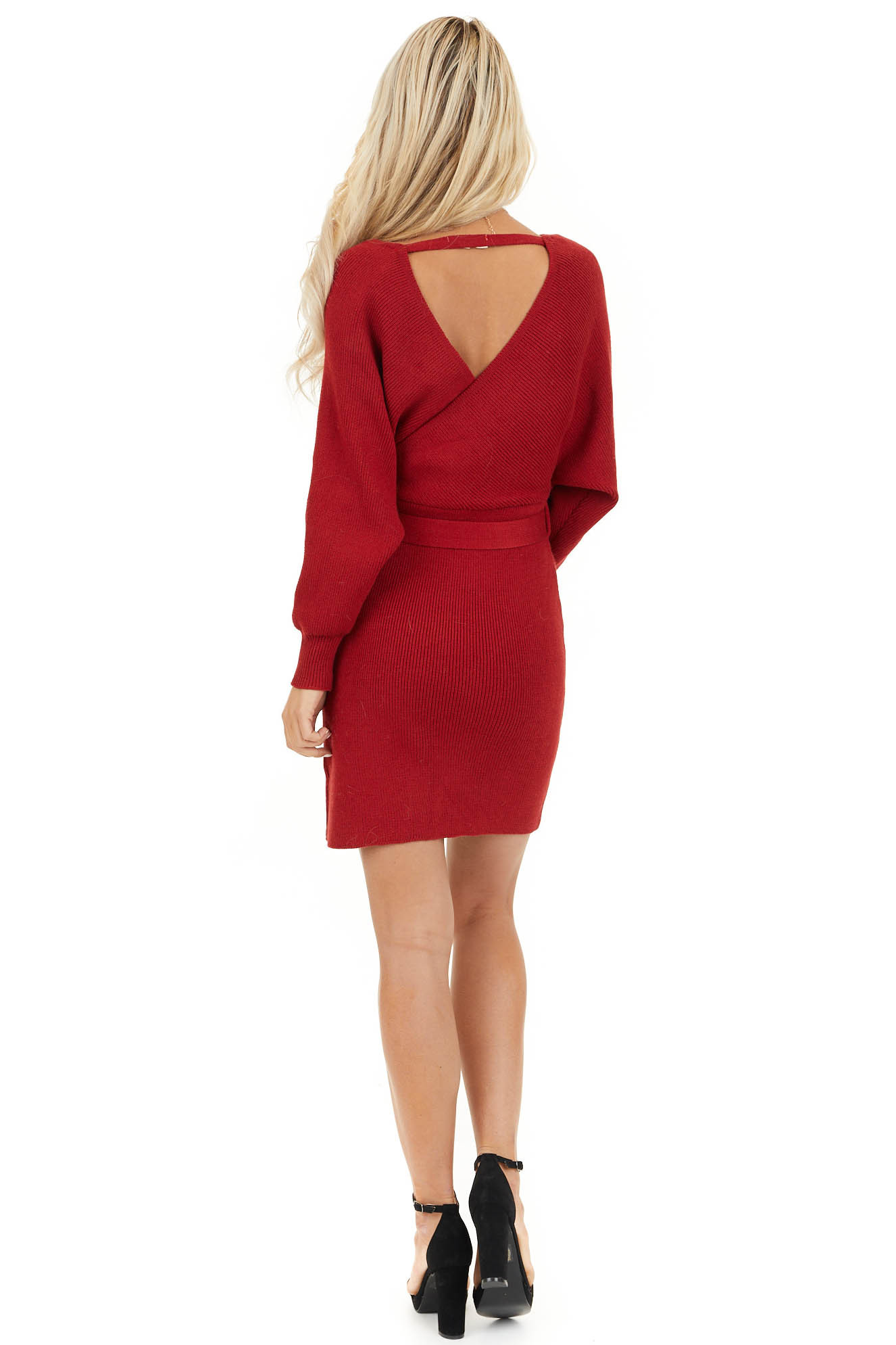 Ruby Long Sleeve Surplice Sweater Dress with Cutout Detail back full body
