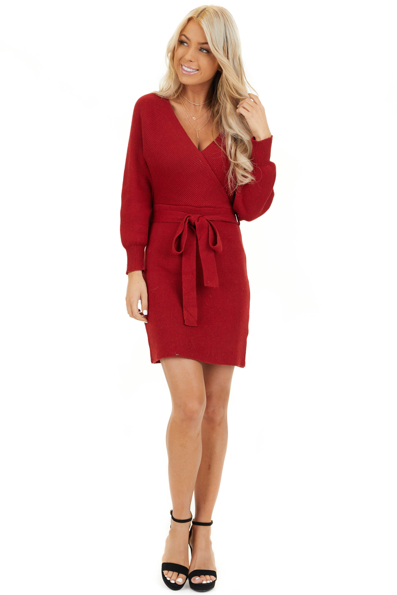 Ruby Long Sleeve Surplice Sweater Dress with Cutout Detail front full body