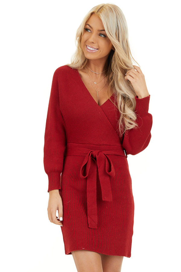 Ruby Long Sleeve Surplice Sweater Dress with Cutout Detail front close up