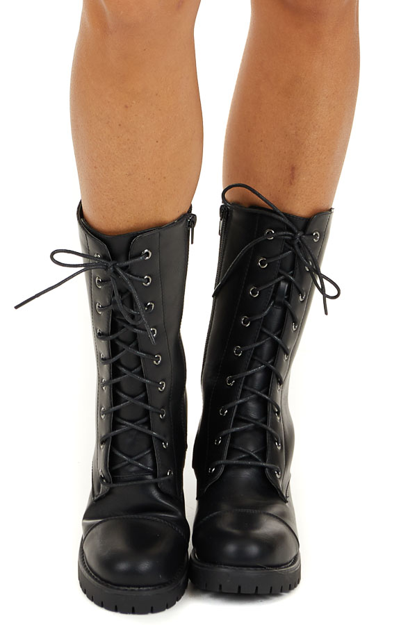 Black Faux Leather Lace Up Calf Length Boots side view