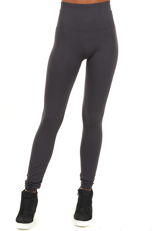 Charcoal High Waisted Fleece Lined Leggings front view