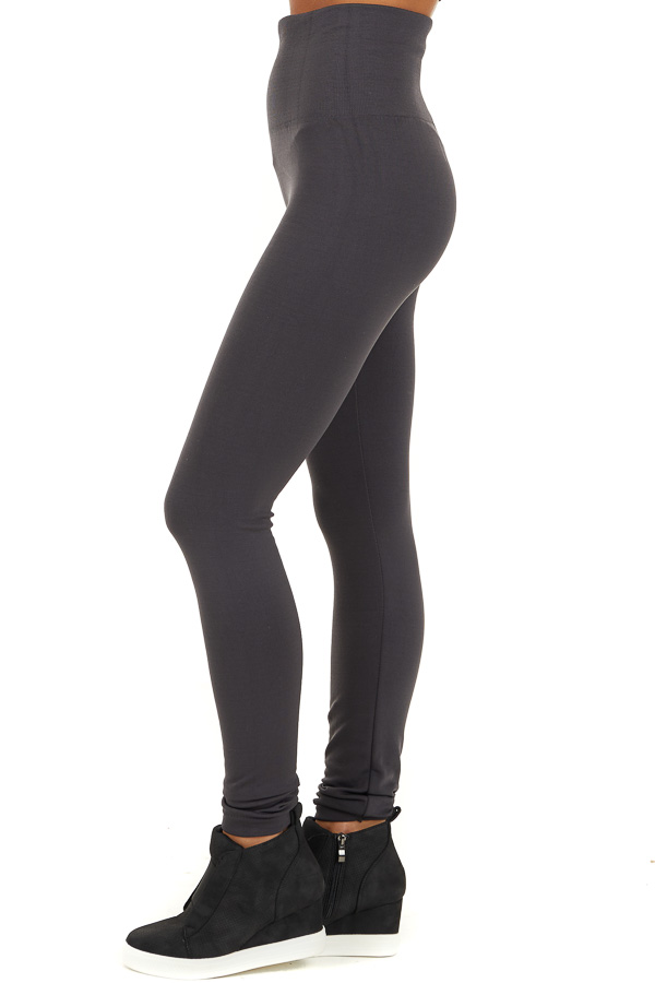 Charcoal High Waisted Fleece Lined Leggings side view