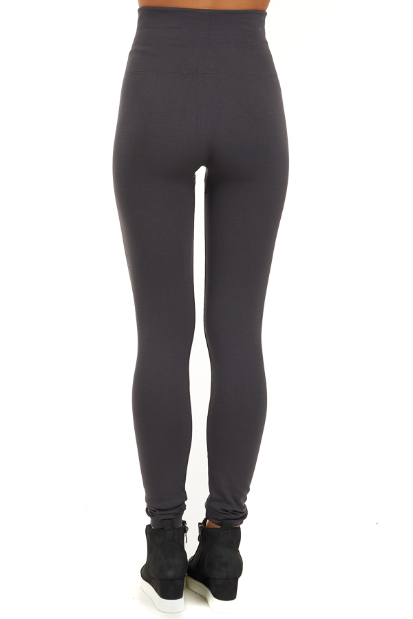 Charcoal High Waisted Fleece Lined Leggings back view