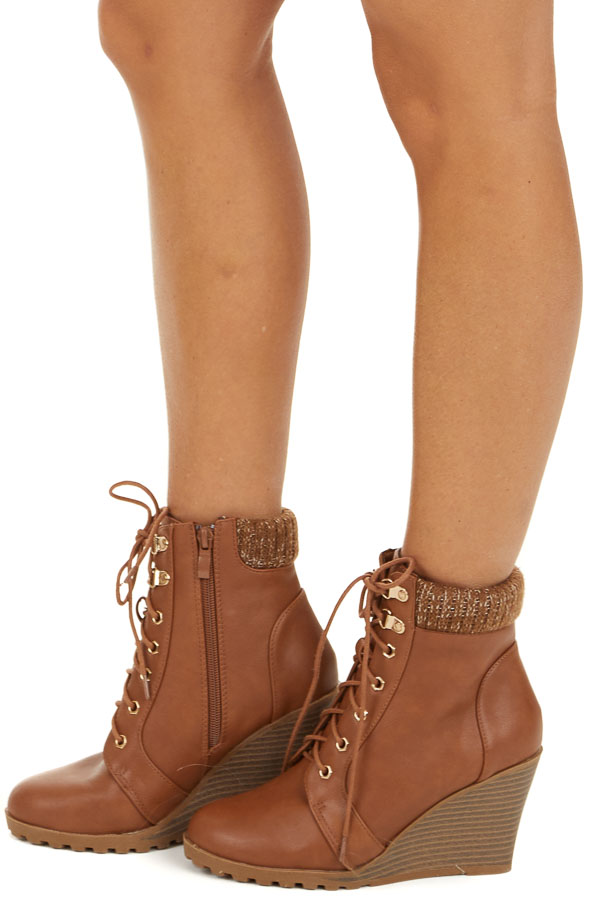 Camel Lace Up Wedge Bootie with Sweater Detail on Ankle side view