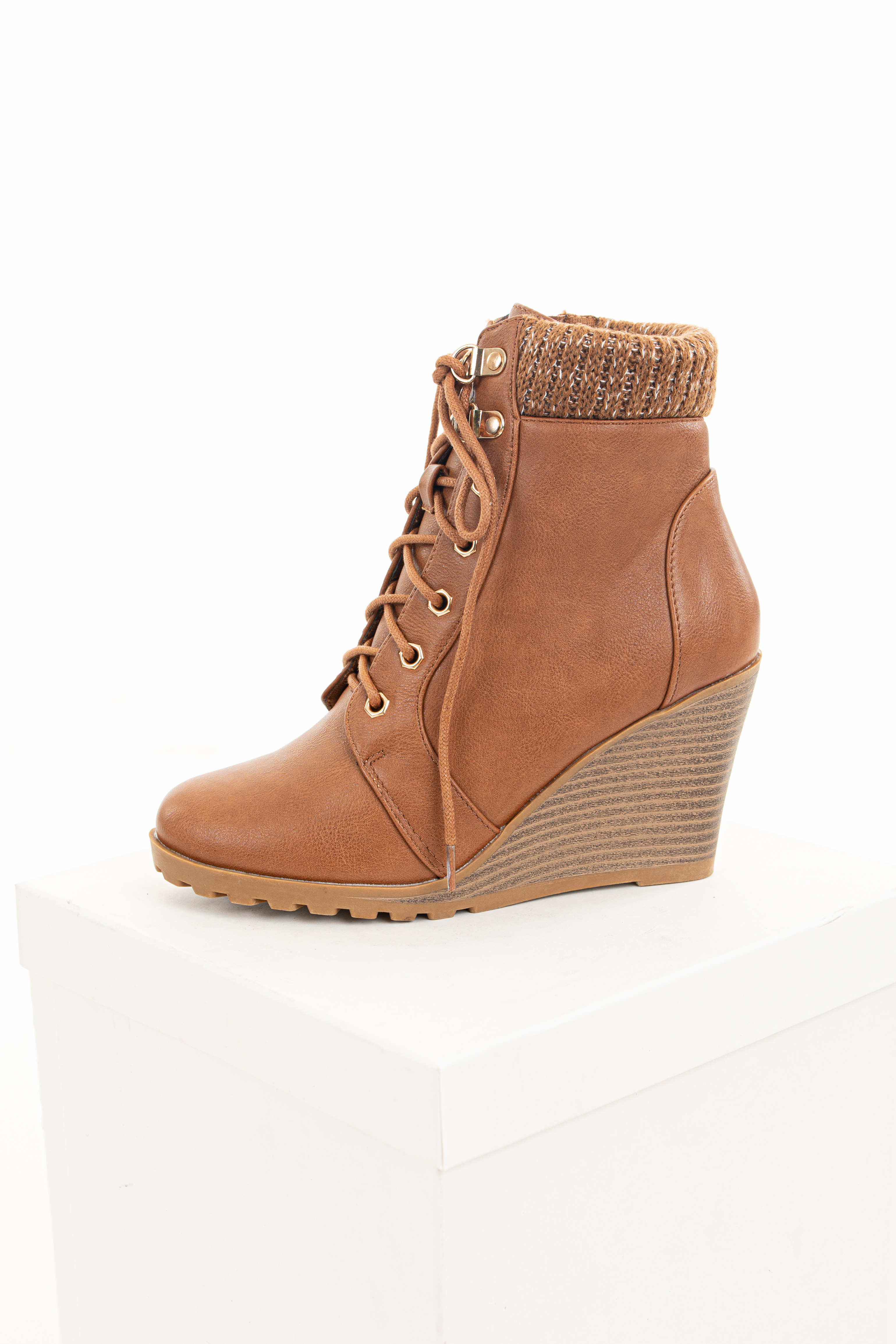 Camel Lace Up Wedge Bootie with Sweater Detail on Ankle