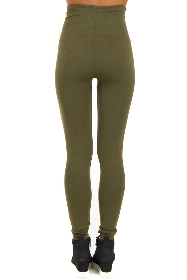 Army Green High Waisted Fleece Lined Leggings back view
