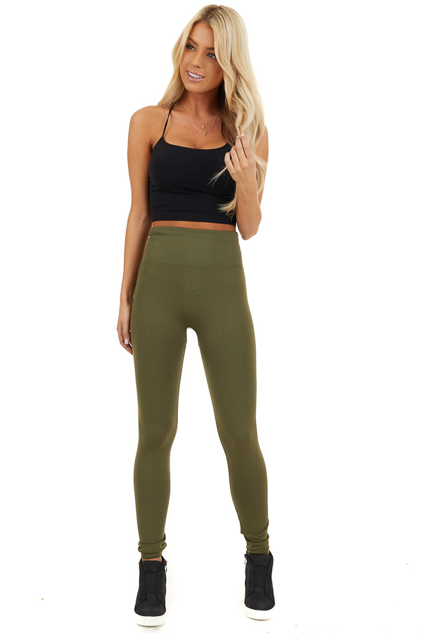 Army Green High Waisted Fleece Lined Leggings front full body