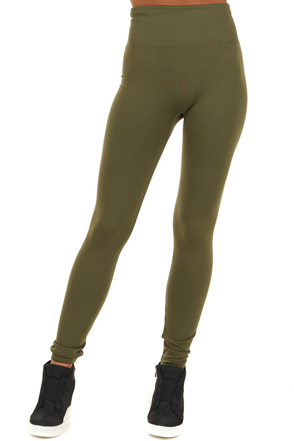 Army Green High Waisted Fleece Lined Leggings front view