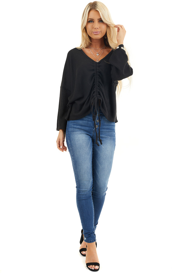 Black Waffle Knit Top with Drawstring Cinched Front front full body