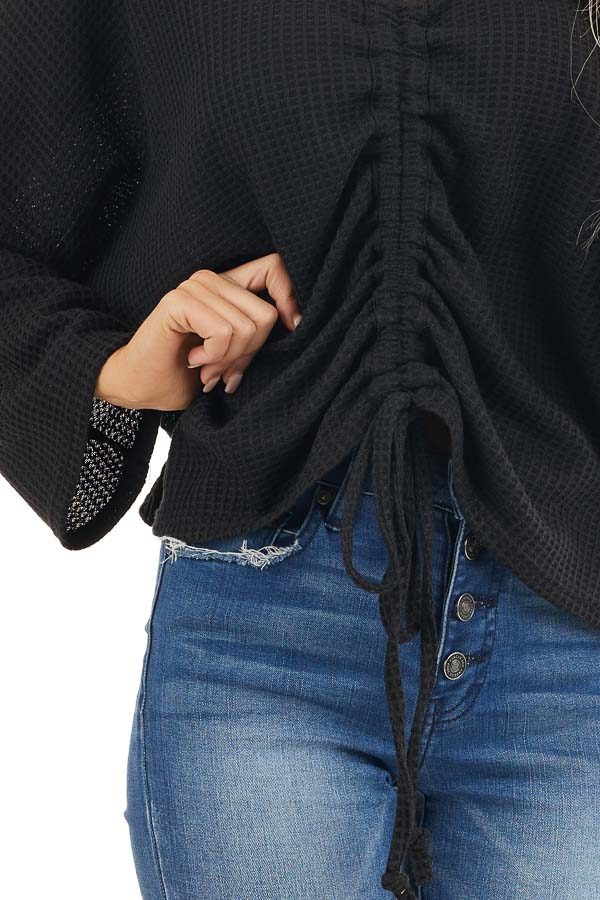 Black Waffle Knit Top with Drawstring Cinched Front detail