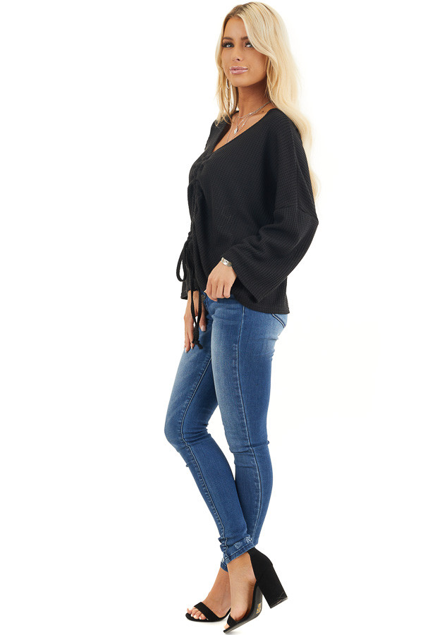 Black Waffle Knit Top with Drawstring Cinched Front side full body