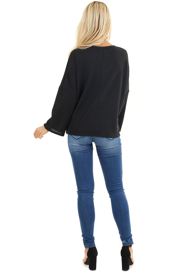 Black Waffle Knit Top with Drawstring Cinched Front back full body