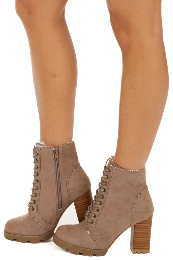 Taupe Suede Lace Up High Heel Bootie with Faux Fur Lining side view