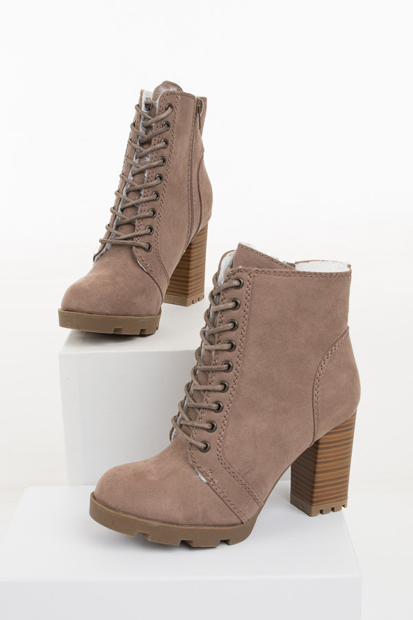 Taupe Suede Lace Up High Heel Bootie with Faux Fur Lining