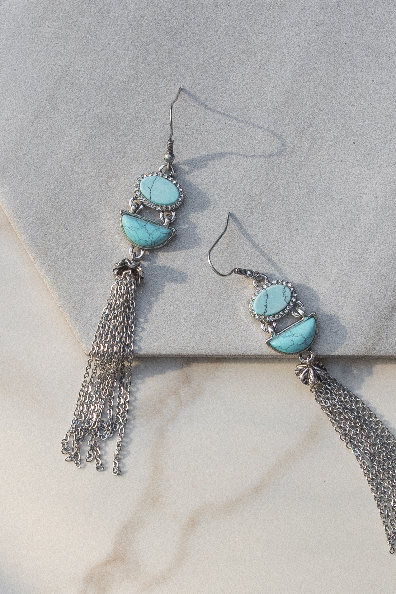 Turquoise Earrings with Tassel Details and Rhinestones