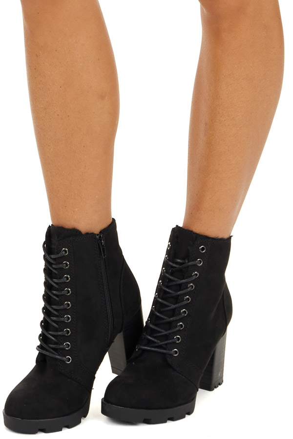 Black Suede Lace Up High Heel Bootie with Faux Fur Lining side view
