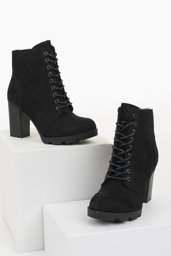 Black Suede Lace Up High Heel Bootie with Faux Fur Lining