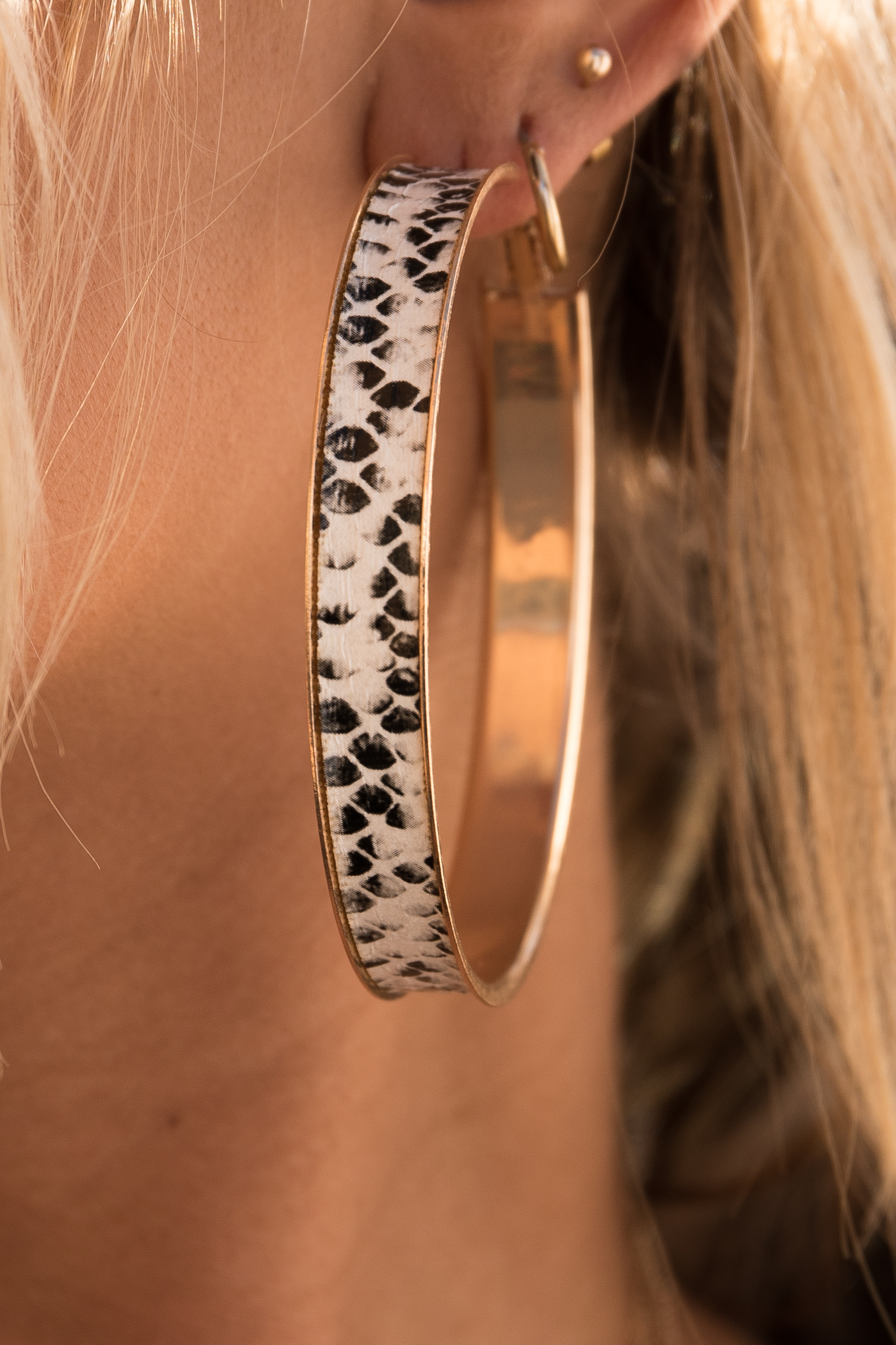 Soft Grey and Black Snake Print Hoop Earrings with Gold Trim