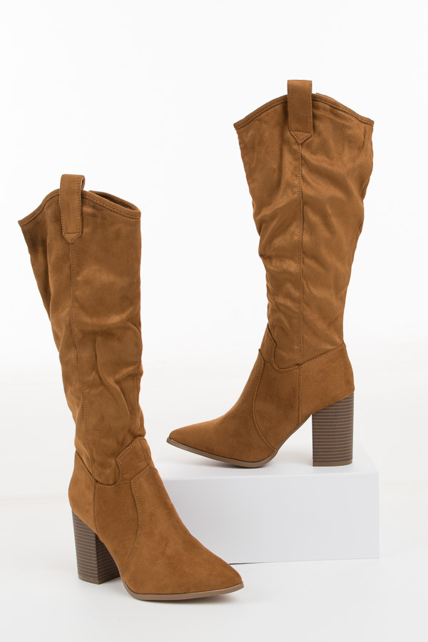 Camel Faux Suede High Heel Boots with Pointed Toe