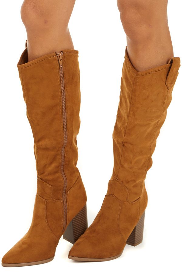 Camel Faux Suede High Heel Boots with Pointed Toe side view