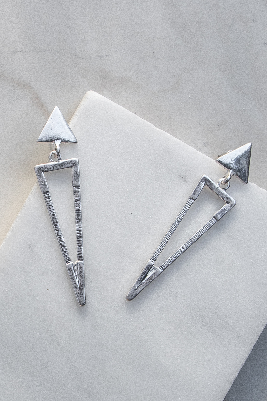 Silver Geometric Triangle Earrings with Textured Details