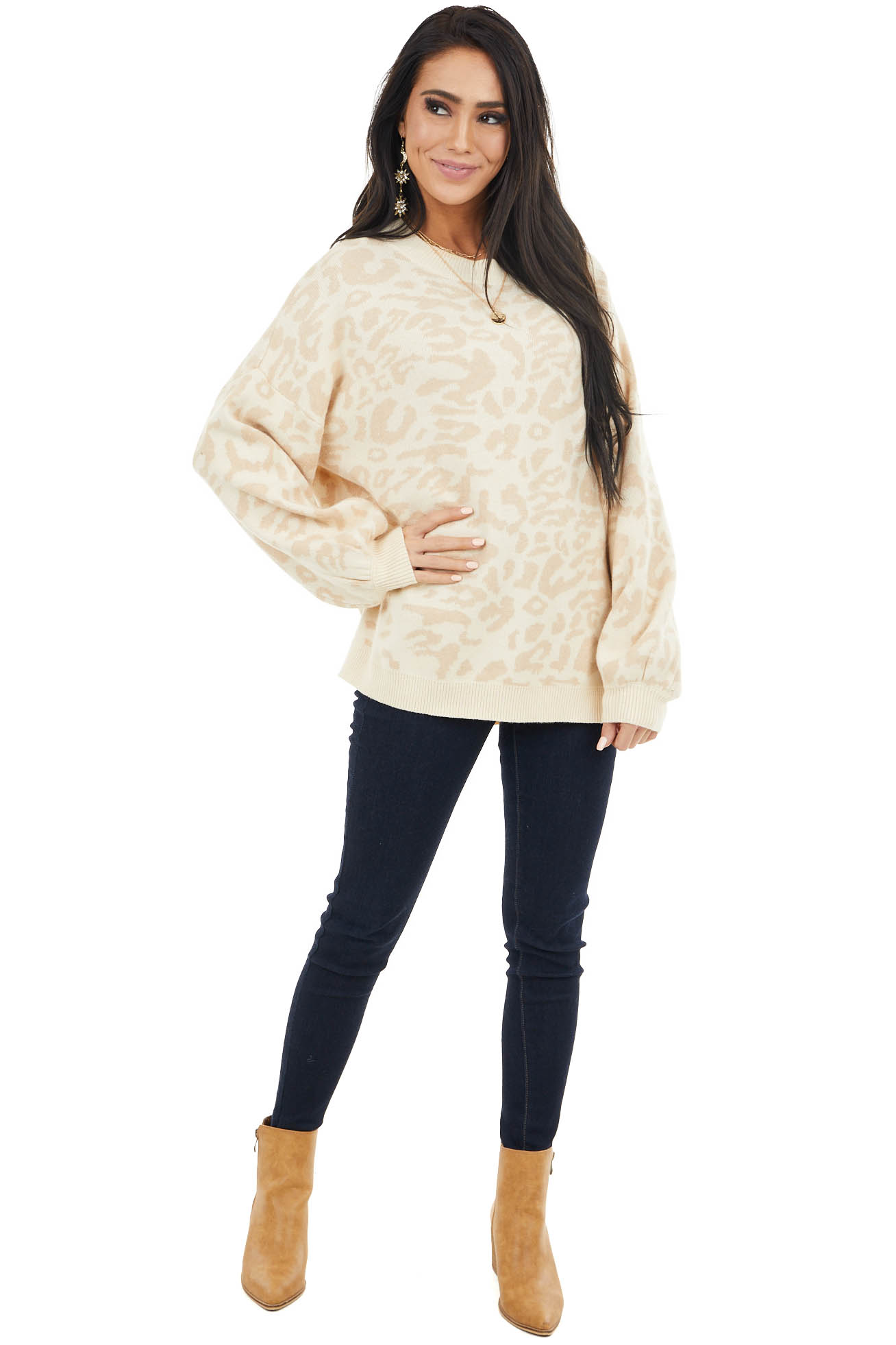 Cream and Latte Leopard Print Super Soft Long Sleeve Sweater