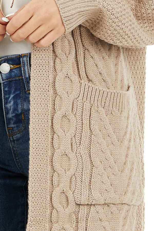 Khaki Cable Knit Cardigan with Long Sleeves detail