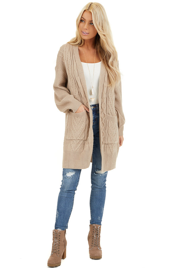 Khaki Cable Knit Cardigan with Long Sleeves front full body