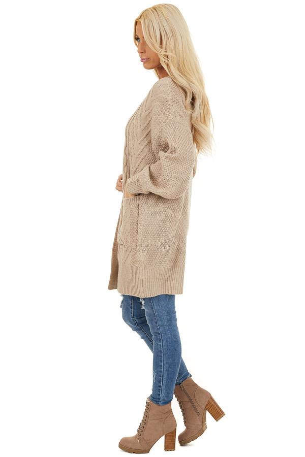 Khaki Cable Knit Cardigan with Long Sleeves side full body
