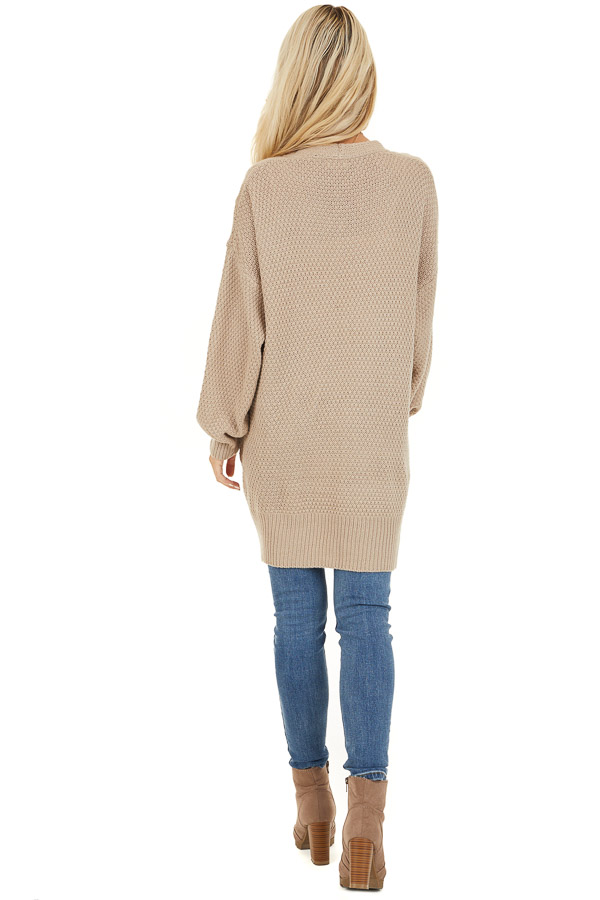 Khaki Cable Knit Cardigan with Long Sleeves back full body