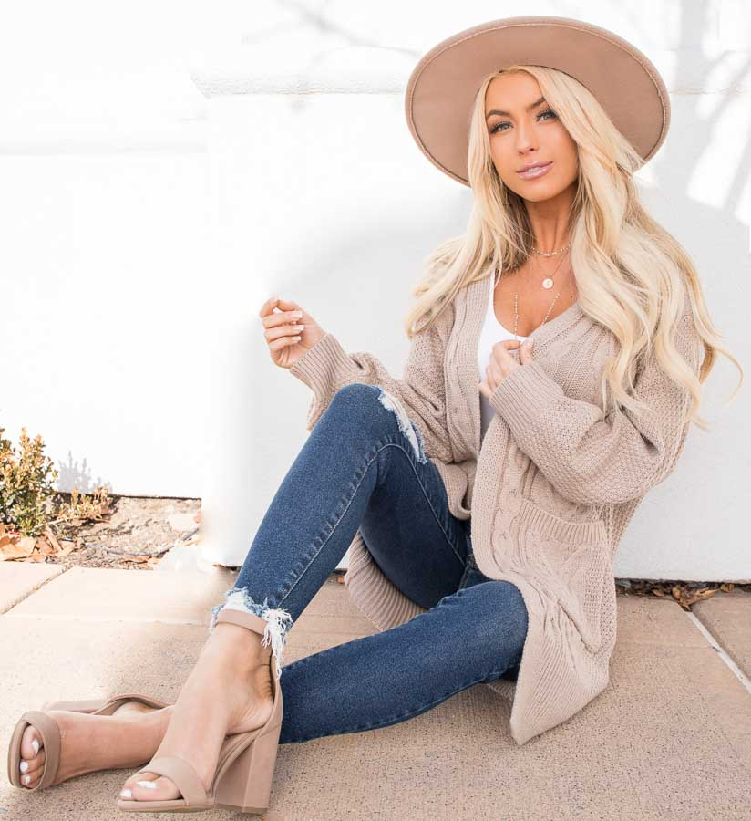 Khaki Cable Knit Cardigan with Long Sleeves