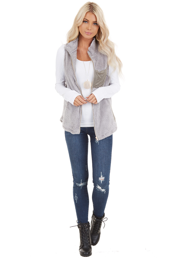 Dove Grey Furry Zip Up Vest with Front Pockets front full body