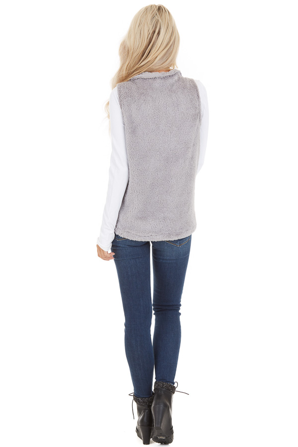Dove Grey Furry Zip Up Vest with Front Pockets back full body