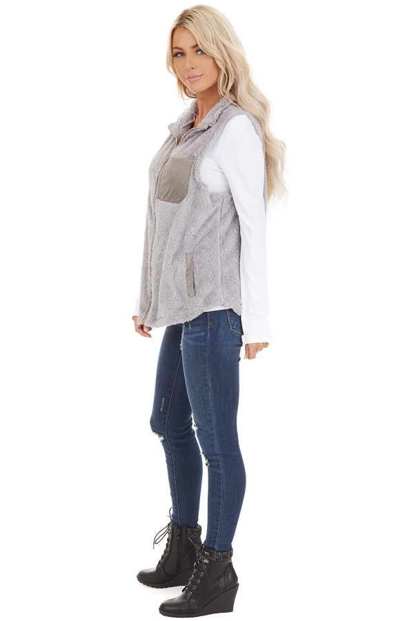Dove Grey Furry Zip Up Vest with Front Pockets side full body