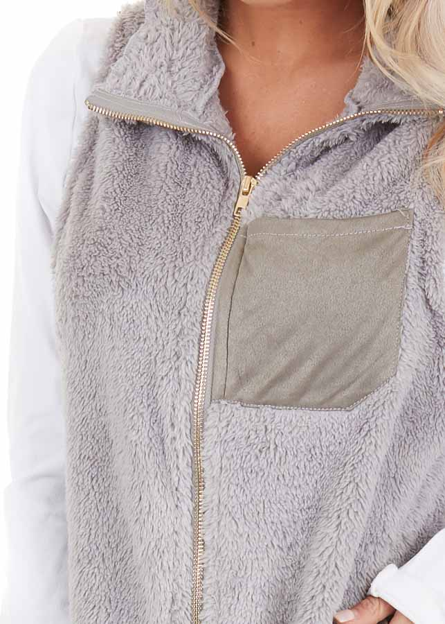 Dove Grey Furry Zip Up Vest with Front Pockets detail