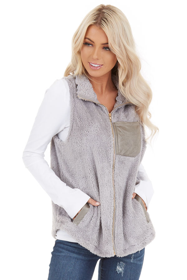 Dove Grey Furry Zip Up Vest with Front Pockets front close up