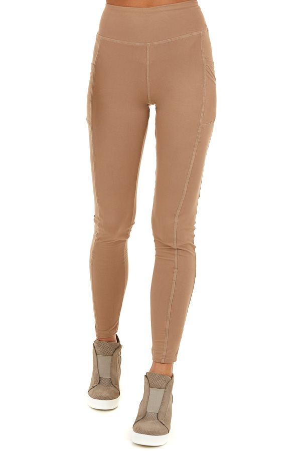 Latte Athletic High Waisted Leggings with Side Pockets front view