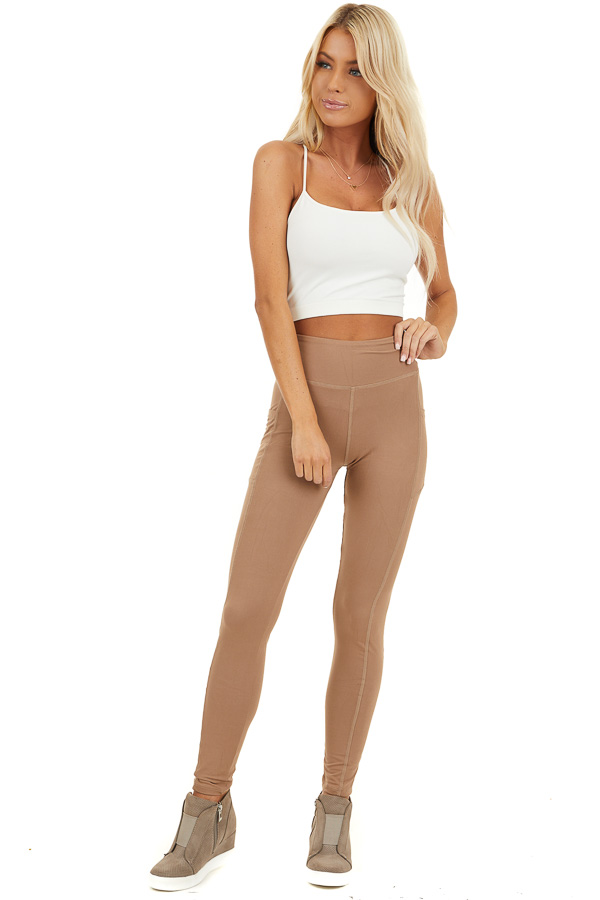 Latte Athletic High Waisted Leggings with Side Pockets front full body