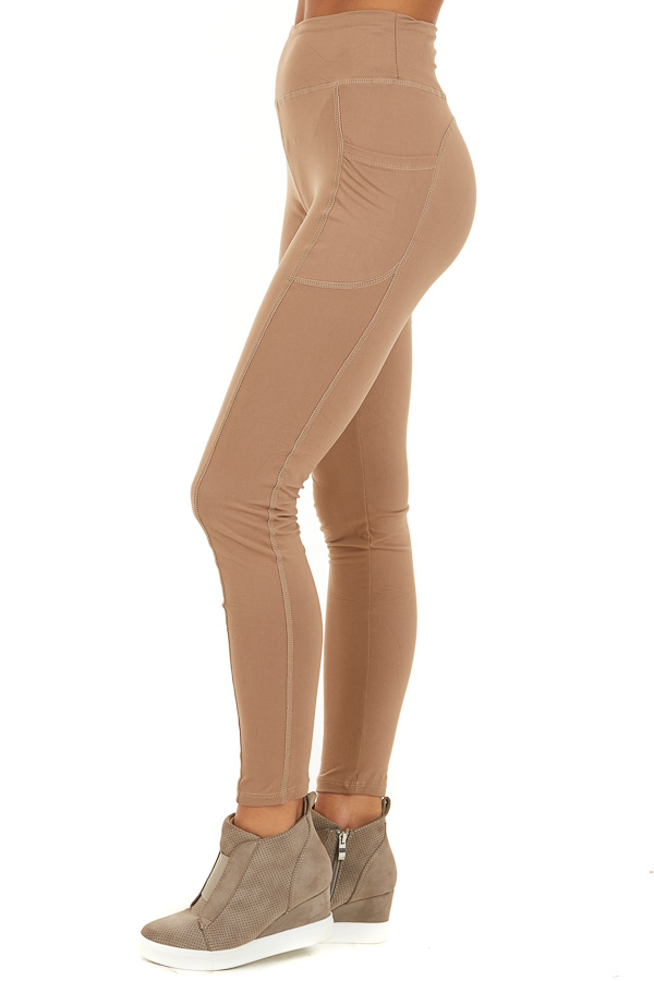 Latte Athletic High Waisted Leggings with Side Pockets side view