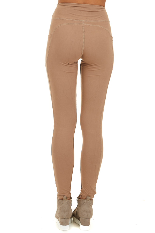 Latte Athletic High Waisted Leggings with Side Pockets back view