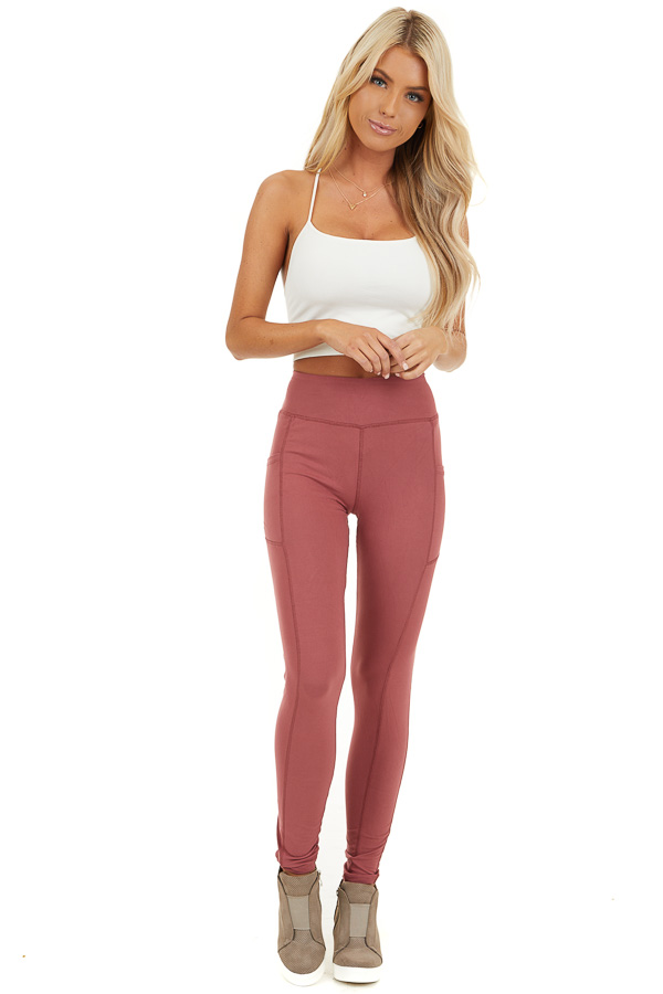 Marsala Athletic High Waisted Leggings with Side Pockets front full body