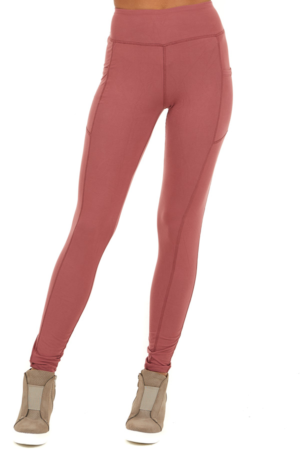 Marsala Athletic High Waisted Leggings with Side Pockets front view
