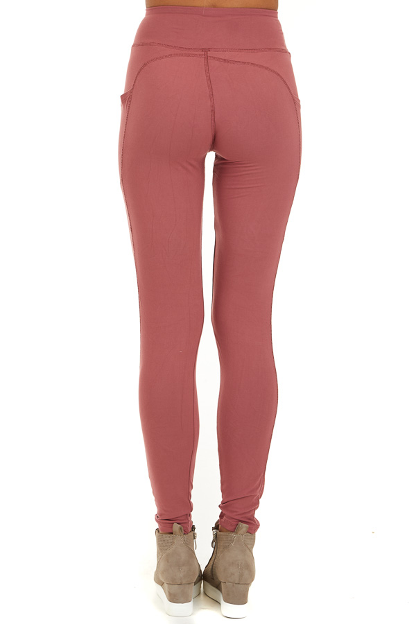 Marsala Athletic High Waisted Leggings with Side Pockets back view