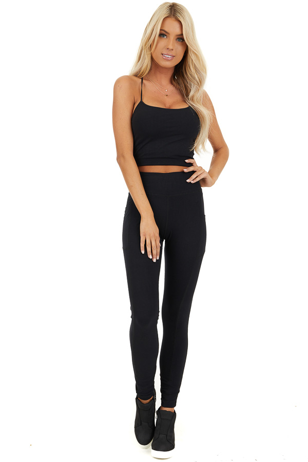 Black Athletic High Waisted Leggings with Side Pockets front full body